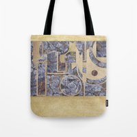 Stiperstones Lichen and Gold Abstract Tote Bag