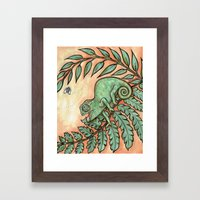 Baby Chameleon Lunch! Framed Art Print