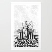 The Skulls of Justice B&W Art Print