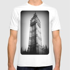 Ben looms in black and white, too. White Mens Fitted Tee SMALL