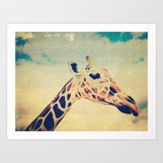 Vintage Giraffe  Art Print
