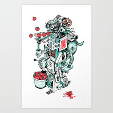 tomato shooting goat machine! Art Print
