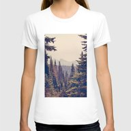 Mountains Through The Tr… Womens Fitted Tee White SMALL