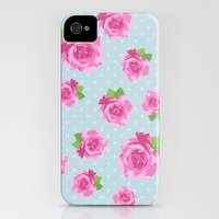 iPhone 4s & iPhone 4 Cases featuring Shabby Chic, Polka Dots, Roses - Pink Green Blue by sitnica