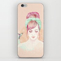 Pink hair lady iPhone & iPod Skin