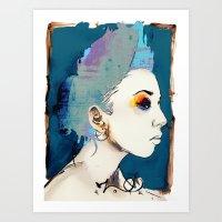 The Sharkfin Hair Lady Art Print