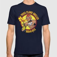 Yoga Flame Grilled BBQ Mens Fitted Tee Navy SMALL
