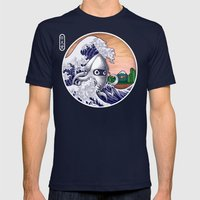 THE GREAT WAVE Mens Fitted Tee Navy SMALL