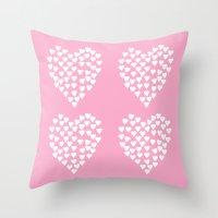 Hearts Heart X2 Pink Throw Pillow