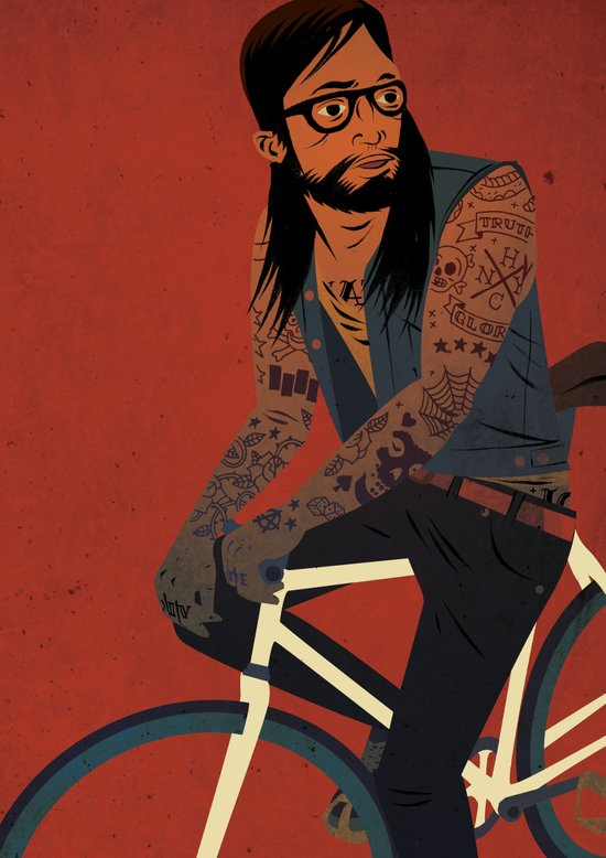 Bicycles & Tattoos (2) Canvas Print