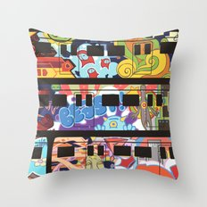 Painted Trains Throw Pillow