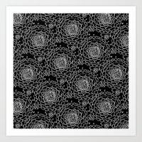 A Crowd of Mums (black   white) Art Print