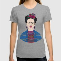 Frida Kahlo Womens Fitted Tee Tri-Grey SMALL