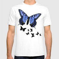 Butterflies Mens Fitted Tee White SMALL