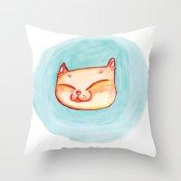 Smizing Kitten Throw Pillow