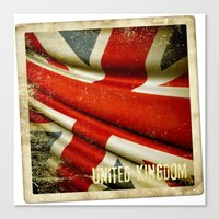Sticker with UK flag Canvas Print