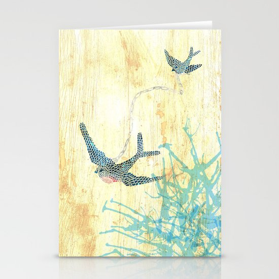 Birds of blue Stationery Card