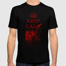 Keep calm? Black SMALL Mens Fitted Tee