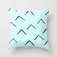 Triangles on mint Throw Pillow