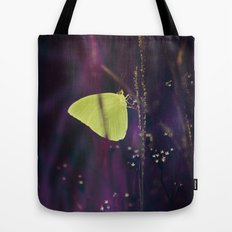 Yellow Butterfly in the Mystic Purple Meadow Tote Bag