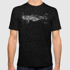 FW - 190 ( B & W) Mens Fitted Tee Tri-Black SMALL