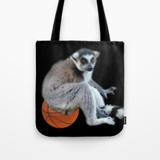 Cute ring tail monkey and basketball, soccer ball. Animal photo art. Tote Bag