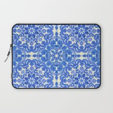 Cobalt Blue & China White Folk Art Pattern Laptop Sleeve