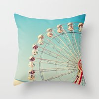 I Don't Want Love, Ferris Wheel on Blue Sky Throw Pillow