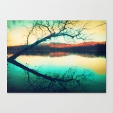 Sunrays mark the landscape Canvas Print