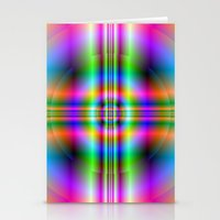 Neon Cross In Circle Stationery Cards