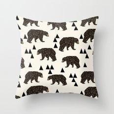 Geo Bear by Andrea Lauren Throw Pillow