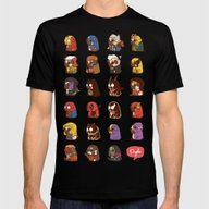 Puglie Heroes & Villain Mens Fitted Tee Black SMALL