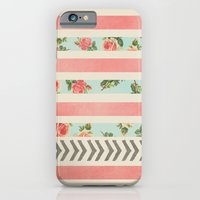 iPhone Cases featuring FLORAL STRIPES AND ARROWS by Allyson Johnson