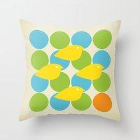 MidCentury Bird Pattern Throw Pillow