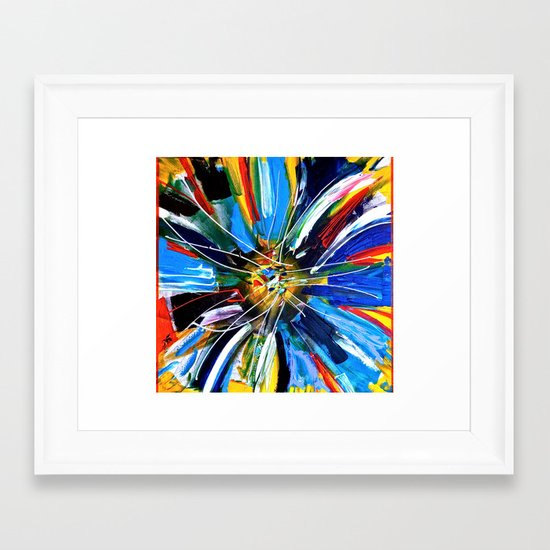 Dutch Spin - Colorful abstract painting flower Framed Art Print