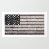 American flag - retro style desaturated look Art Print
