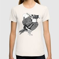 Red Pigeons Get Fat Womens Fitted Tee Natural SMALL