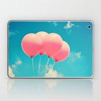 Pink Balloons on Deep Blue  Laptop & iPad Skin