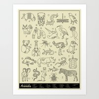 Animals A-Z Art Print