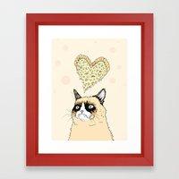 Grumpy Pizza Love Framed Art Print
