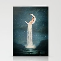 lady gaga Stationery Cards featuring Moon River Lady by Paula Belle Flores