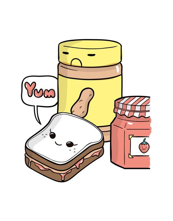 Friends Go Better Together 7/7 - Bread, Peanut Butter and Jam Art Print