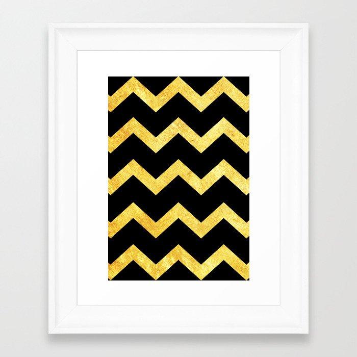 blackampgold chevron framed art print by rebecca allen