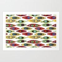 I Heart Kayaks Pattern Art Print