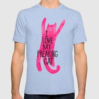 I love my freaking cat - magenta Mens Fitted Tee Tri-Blue SMALL