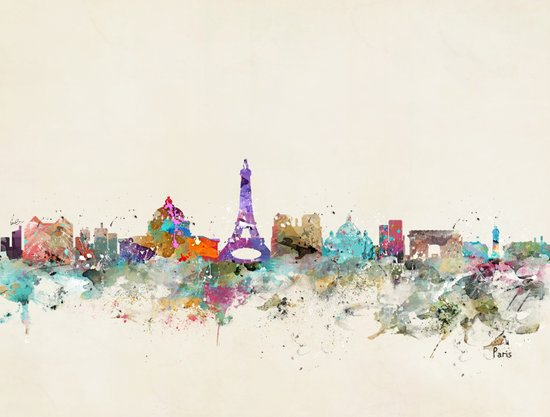 Paris city skyline  Art Print