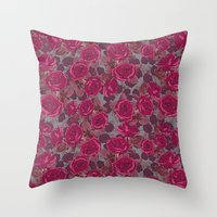 Roses In Mauve Throw Pillow