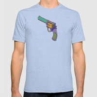 gun shoots color Mens Fitted Tee Athletic Blue SMALL