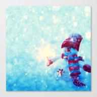 Cute Snowman Watercolor … Canvas Print