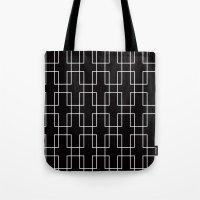 White outline rectangles on black Tote Bag